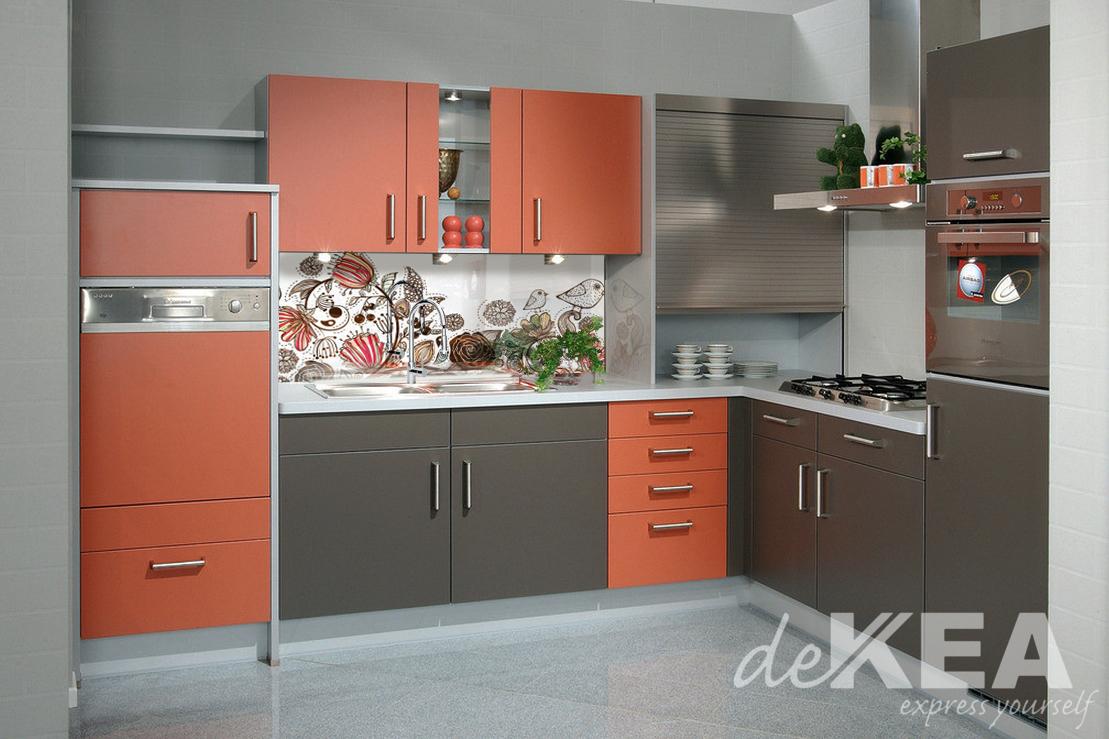 panele szklane w pomara czowej kuchni. Black Bedroom Furniture Sets. Home Design Ideas