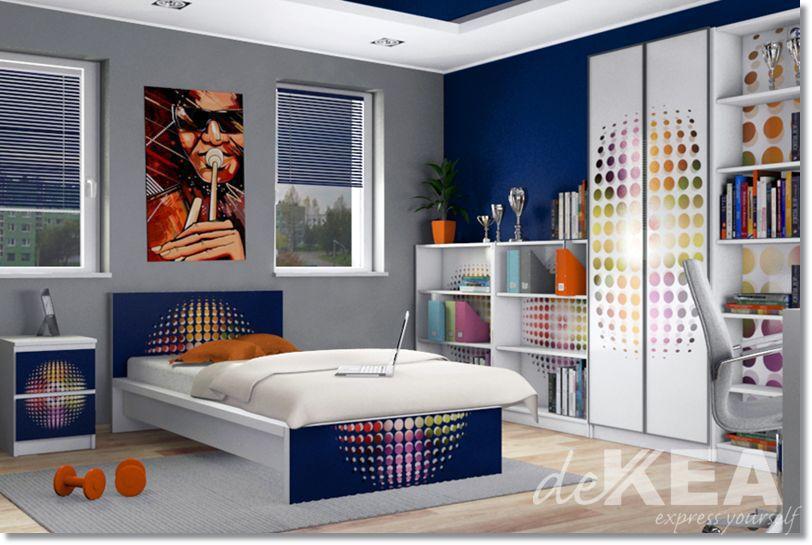 Naklejki Na łózko Malm Z Ikei Granatowe W Kolorowe Koła Dekea
